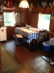 My writing station inside the cottage