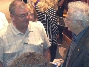 Introducing myself to Homer Hickam, a nice person and terrific author!