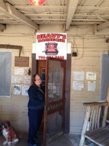 Carolyn about to enter Heavy's Barbecue, down the road, yonder, from Crawfordville, GA.