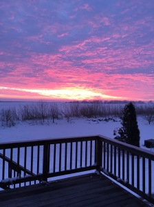A splendid sunrise over the first snowstorm in late November